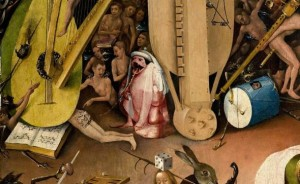 The Garden of Earthly Delights, Oil-on-wood panels, 220 x 389 cm, Museo del Prado in Madrid