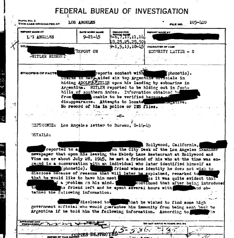 fbi report hitler argentina