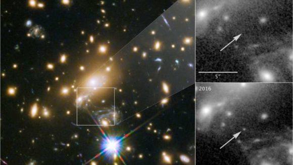 Gravitational Lensing Reveals Blue Supergiant 9 Billion Light Years Away